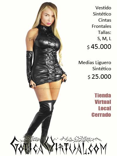 vestido sintetico pvc bogota latex brillante negro disfraz halloween dama barato sex shop erotico prendas ligueros rockeros brujas medellin cali manizales pereira yopal