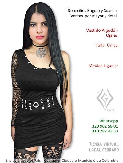 vestido ojales taches negro femenino corti licrado sexy economico venta online tienda domicilios