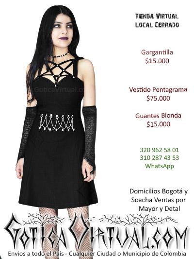 vestido pentagrama cadenas negro gotico envios domicilios colombia bogota cali ibague medellin bucaramanga cucuta neiva vaupes choco